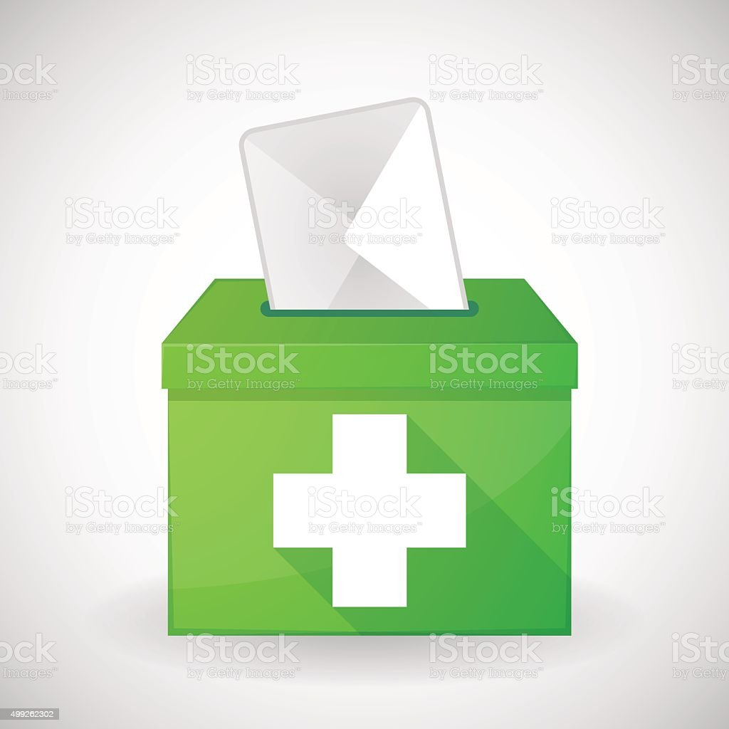 Green ballot box with a pharmacy sign vector art illustration