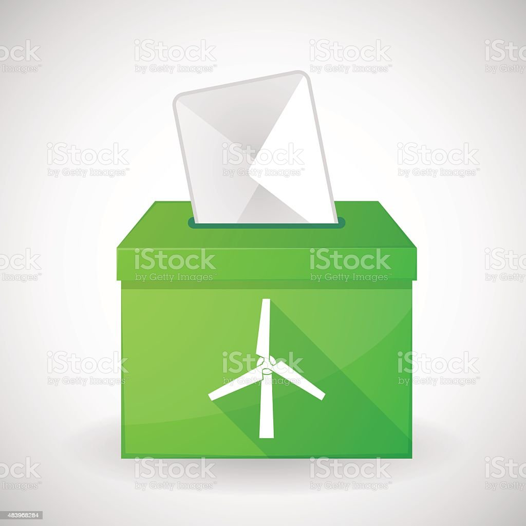Green ballot box with a wind generator vector art illustration
