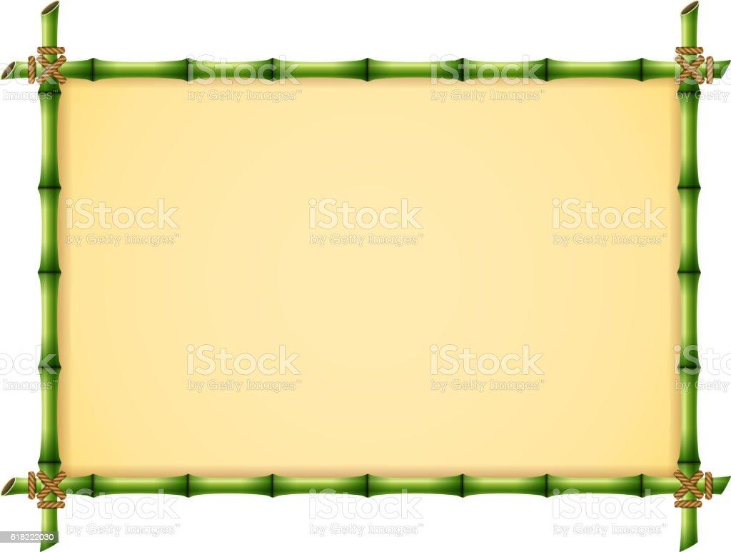 Green Bamboo Frame vector art illustration