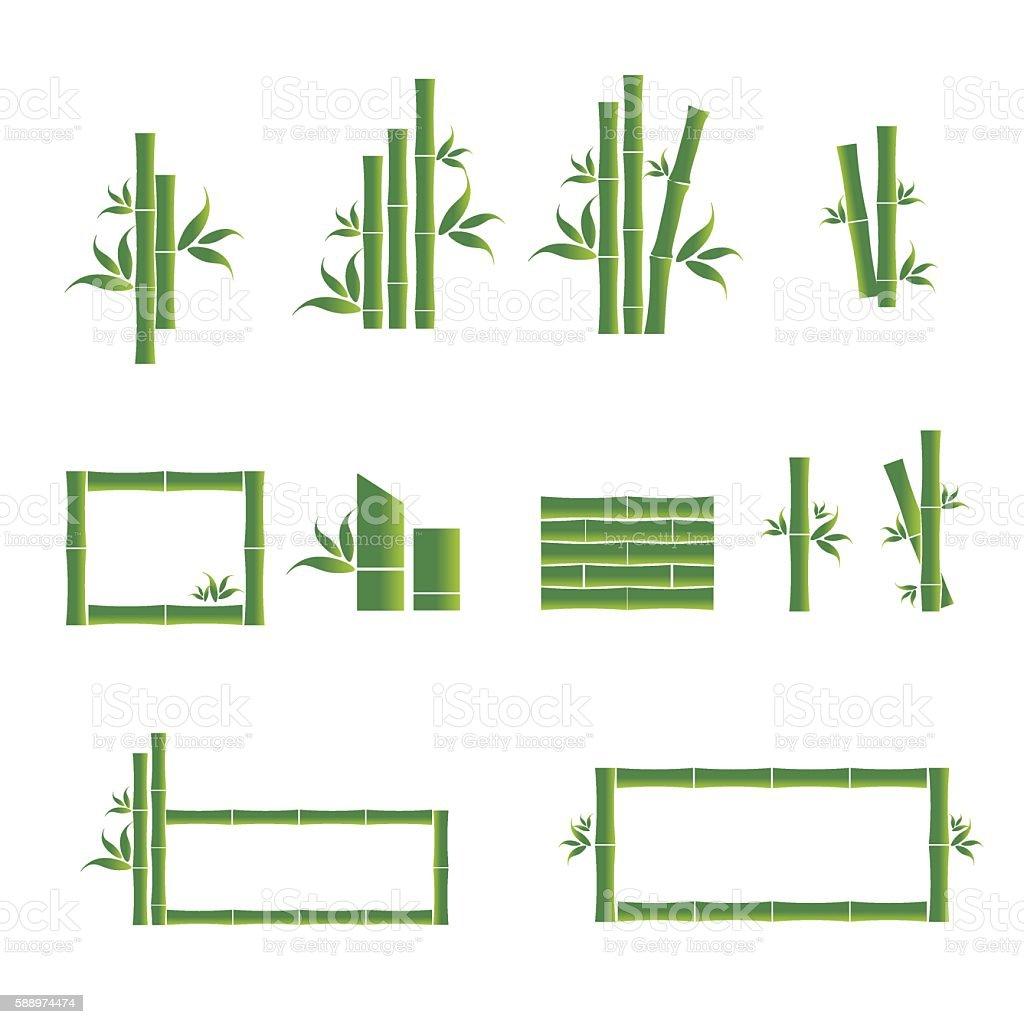 Green bamboo vector symbol icons set vector art illustration