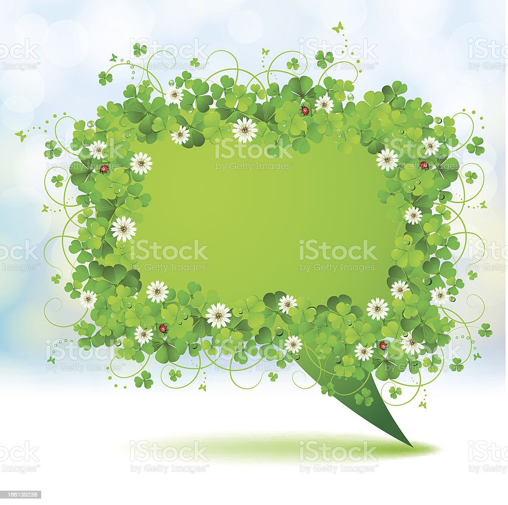 Green banner with clover royalty-free stock vector art
