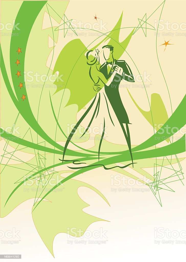 A green based illustration showing people dancing royalty-free stock vector art