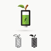Green Battery and Green leaf. Eco Concept