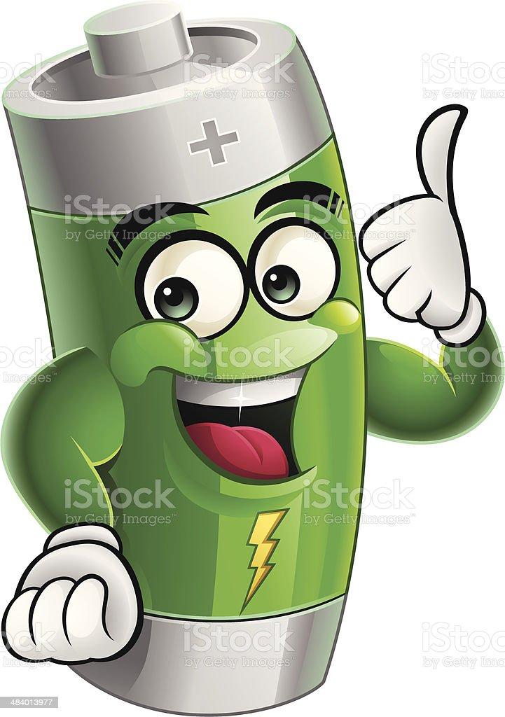 Green Battery Cartoon - Thumbs Up royalty-free stock vector art