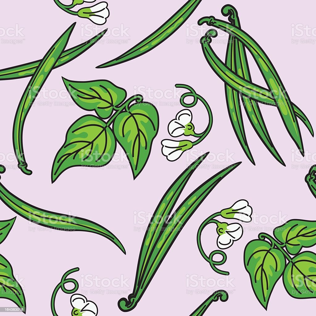 Green Beans Pattern vector art illustration