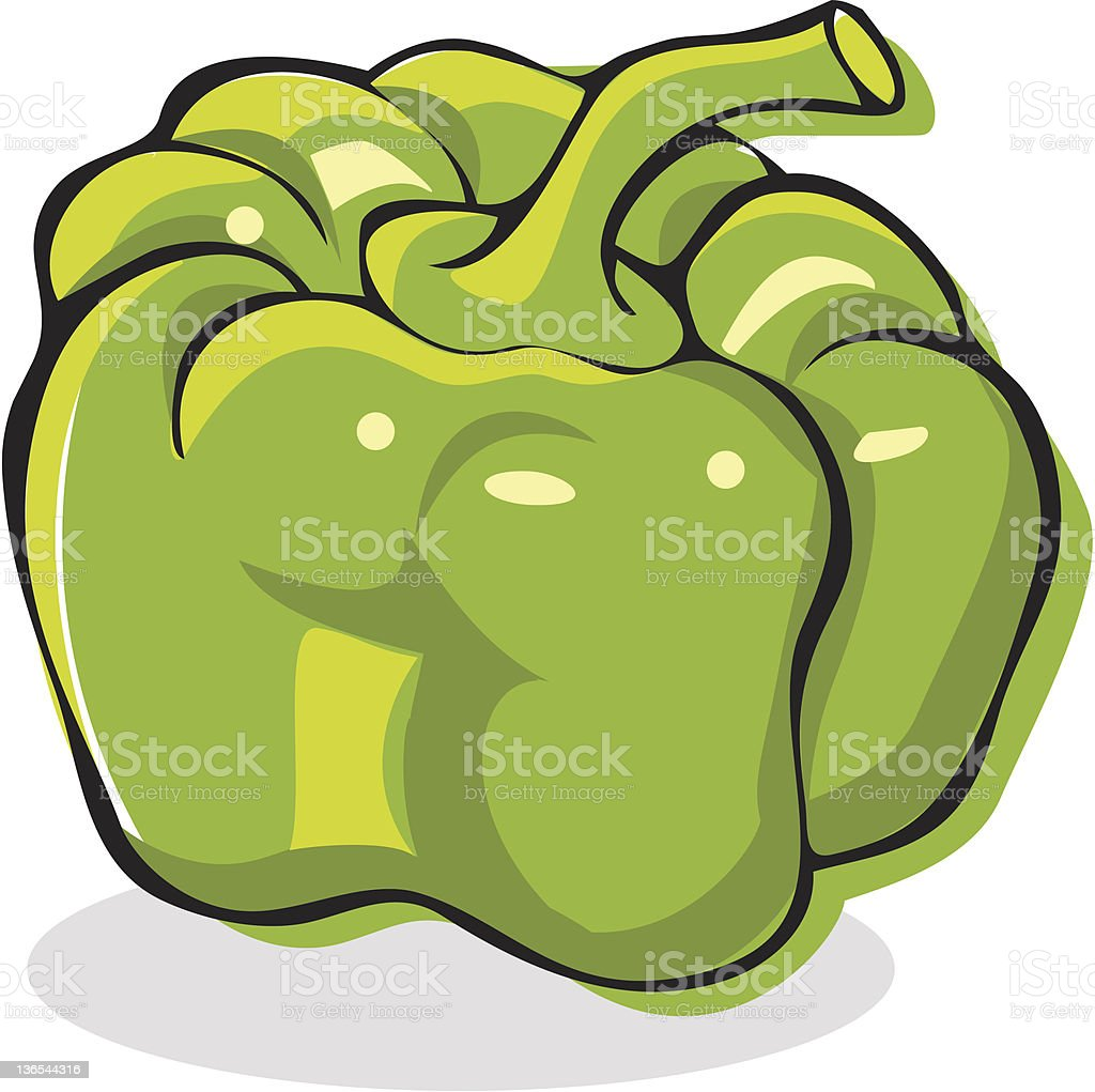 Green bell pepper vector art illustration