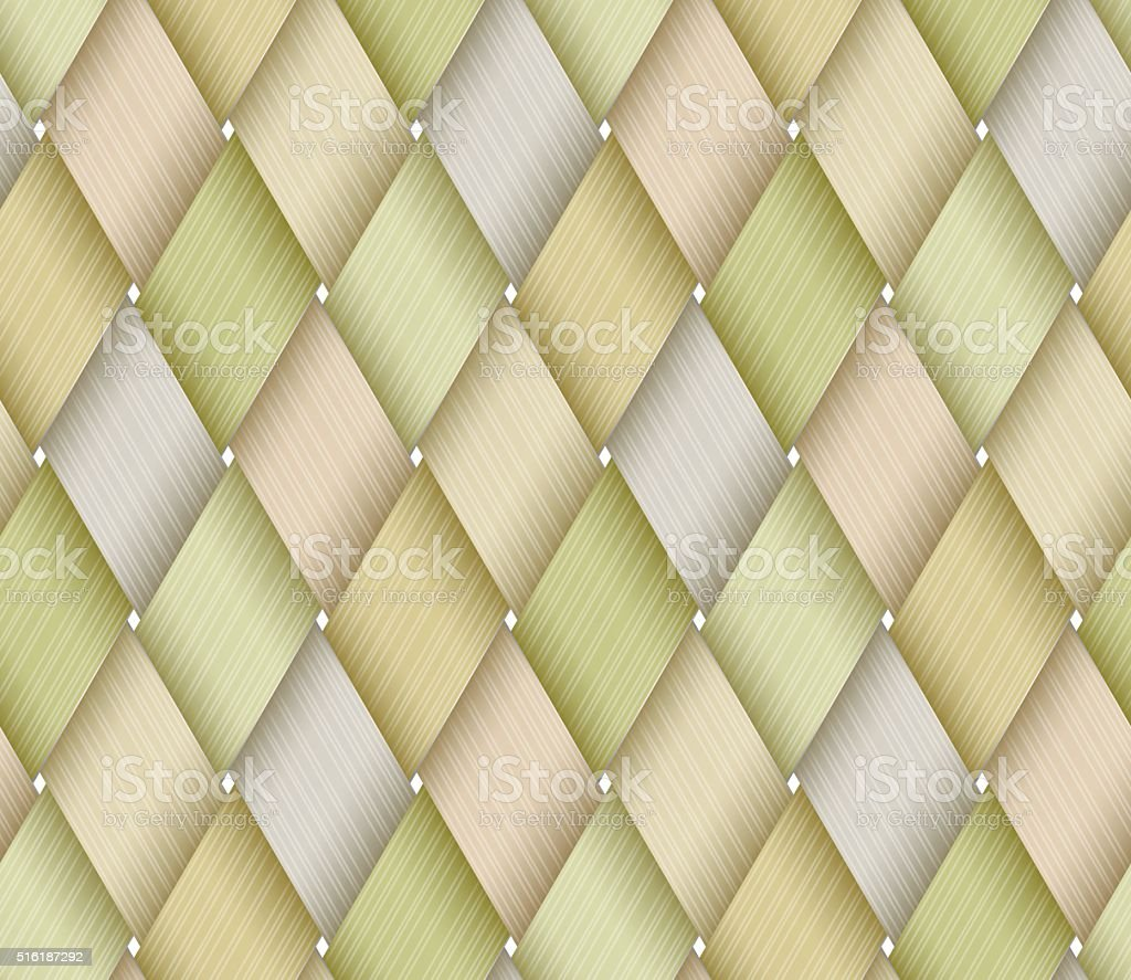 Green Birchbark Basketwork. vector art illustration