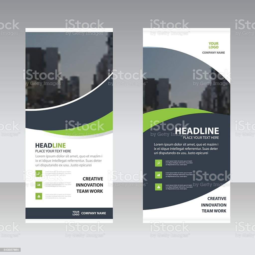 Green black curve astract triangle Business Roll Up Banner flat vector art illustration