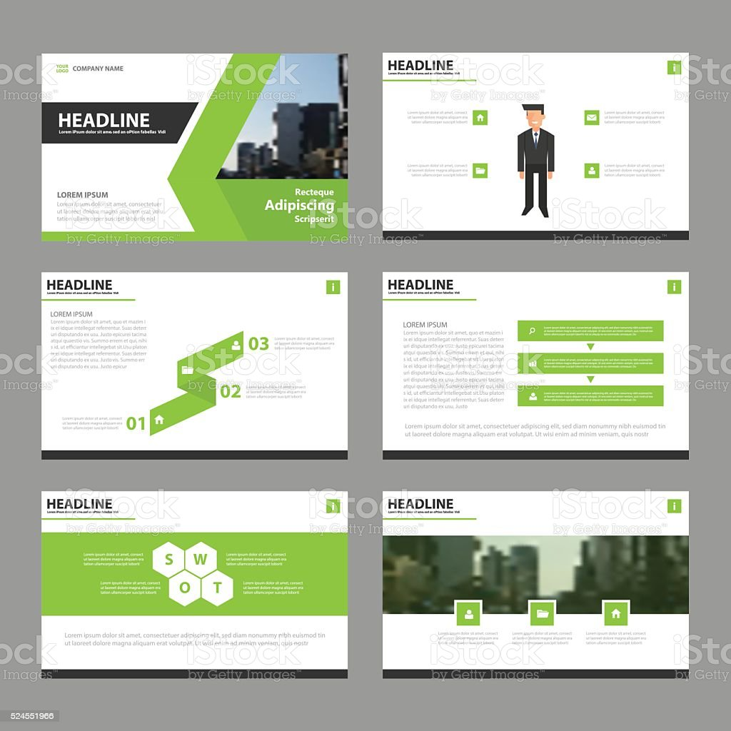 Green Black presentation templates Infographic elements flat design set vector art illustration