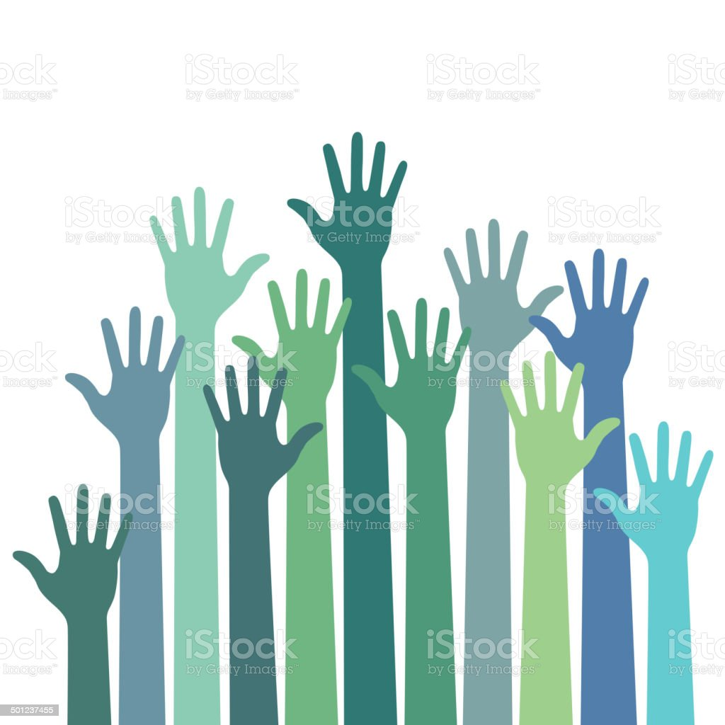 green - blue colorful up hands vector art illustration