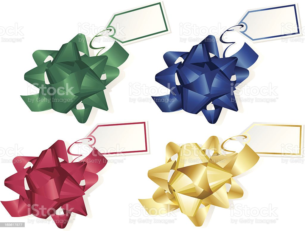 Green, Blue, Red and Gold Bows with Gift Tags royalty-free stock vector art
