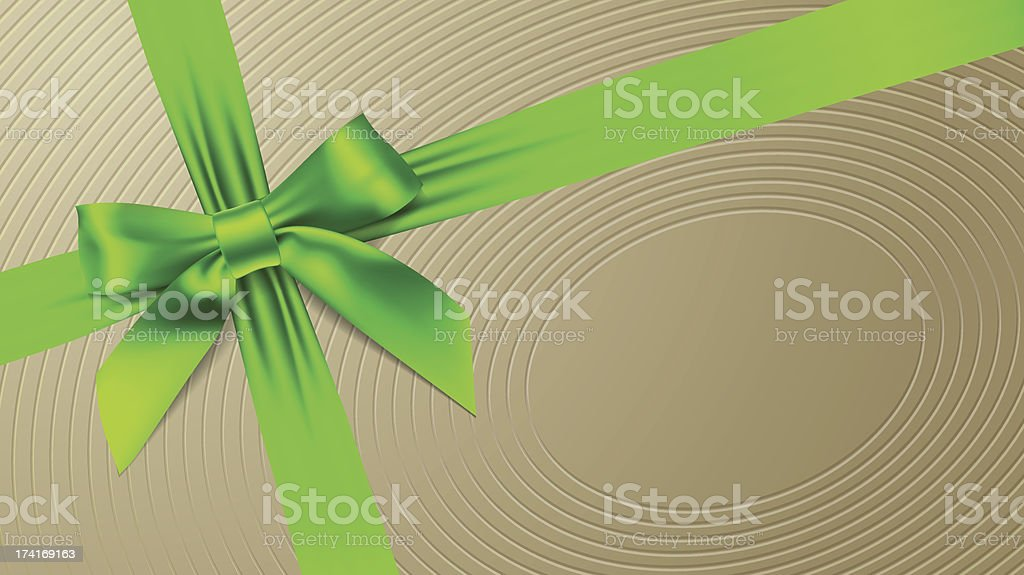 Green bow on a textural background royalty-free stock vector art