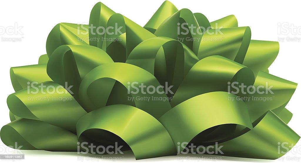 Green Bow On White vector art illustration