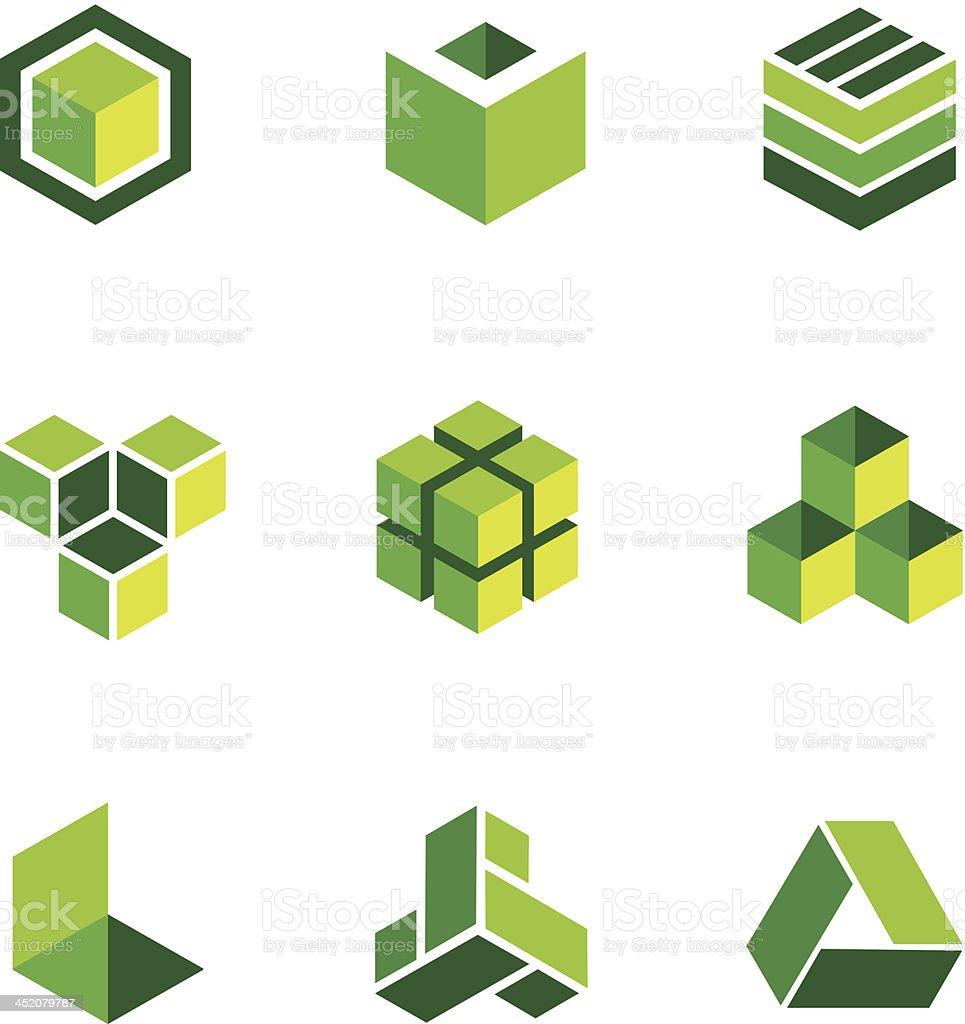 Green box logos and icons vector art illustration