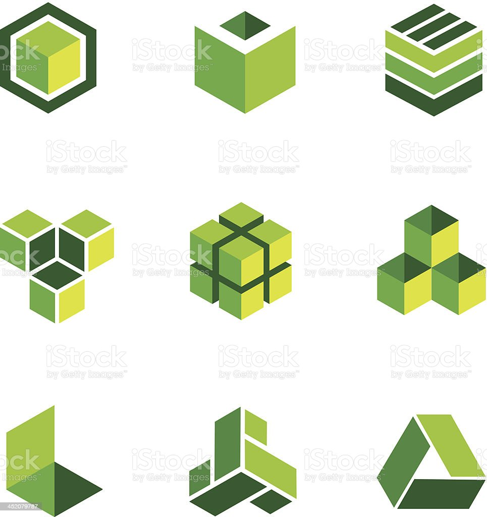 Green box logos and icons vector art illustration