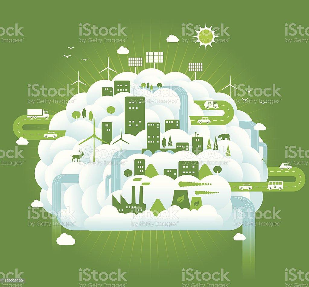 Green Brain vector art illustration