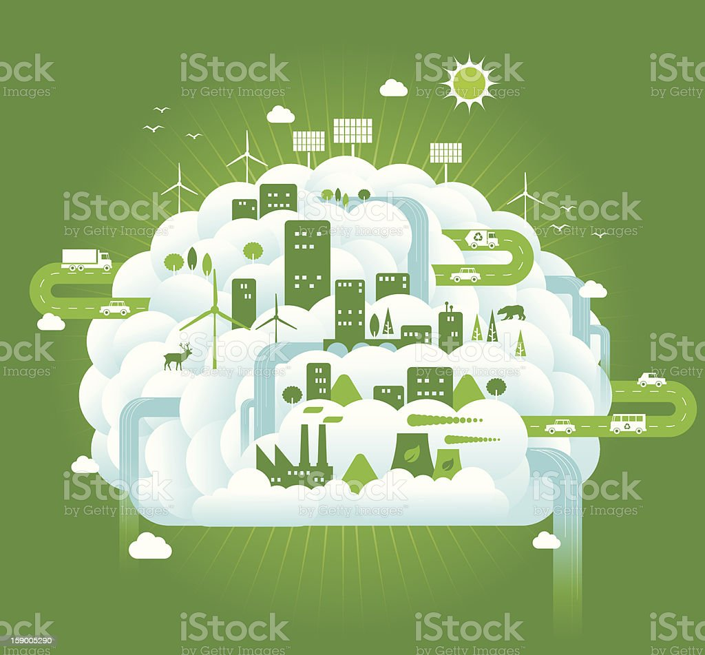 Green Brain vector art illustration