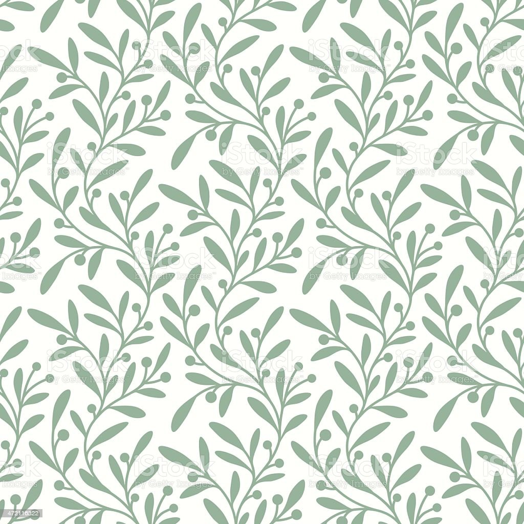 Green Branch. Seamless Pattern. vector art illustration
