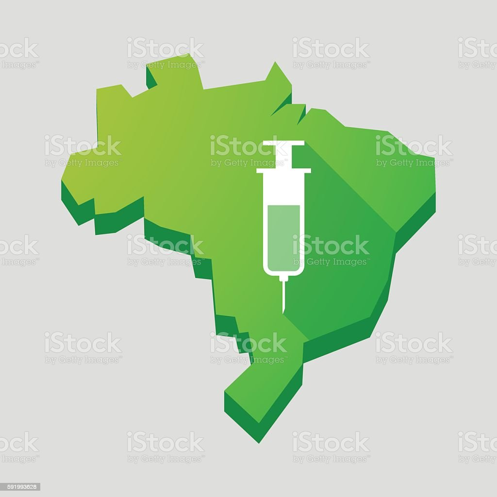 Green Brazil map with a syringe vector art illustration