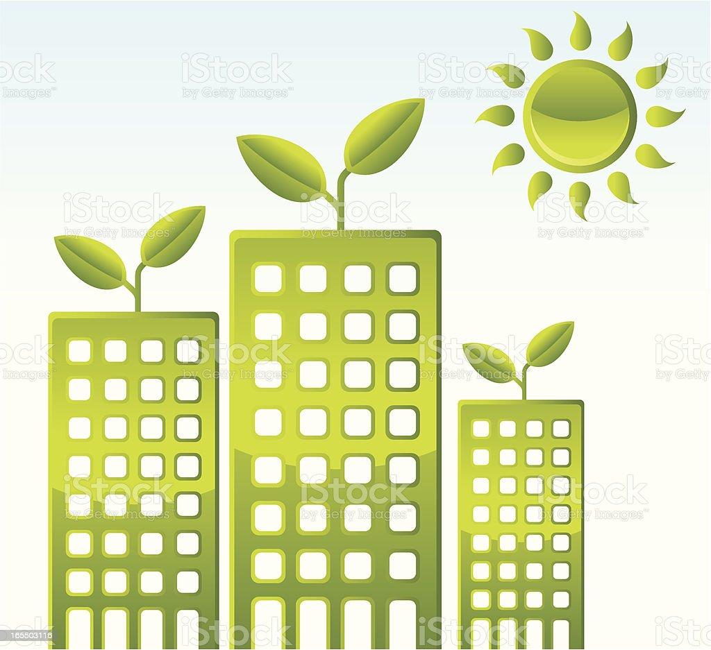 Green Buildings royalty-free stock vector art