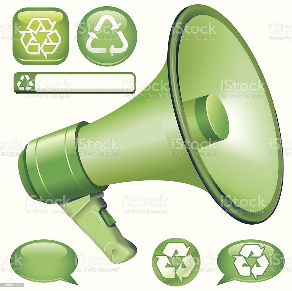 green Bullhorn Message royalty-free stock vector art