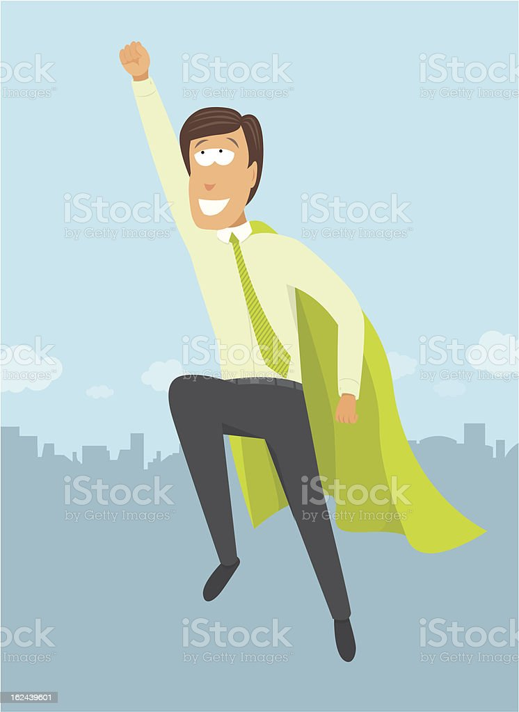 Green business hero / Flying CEO royalty-free stock vector art