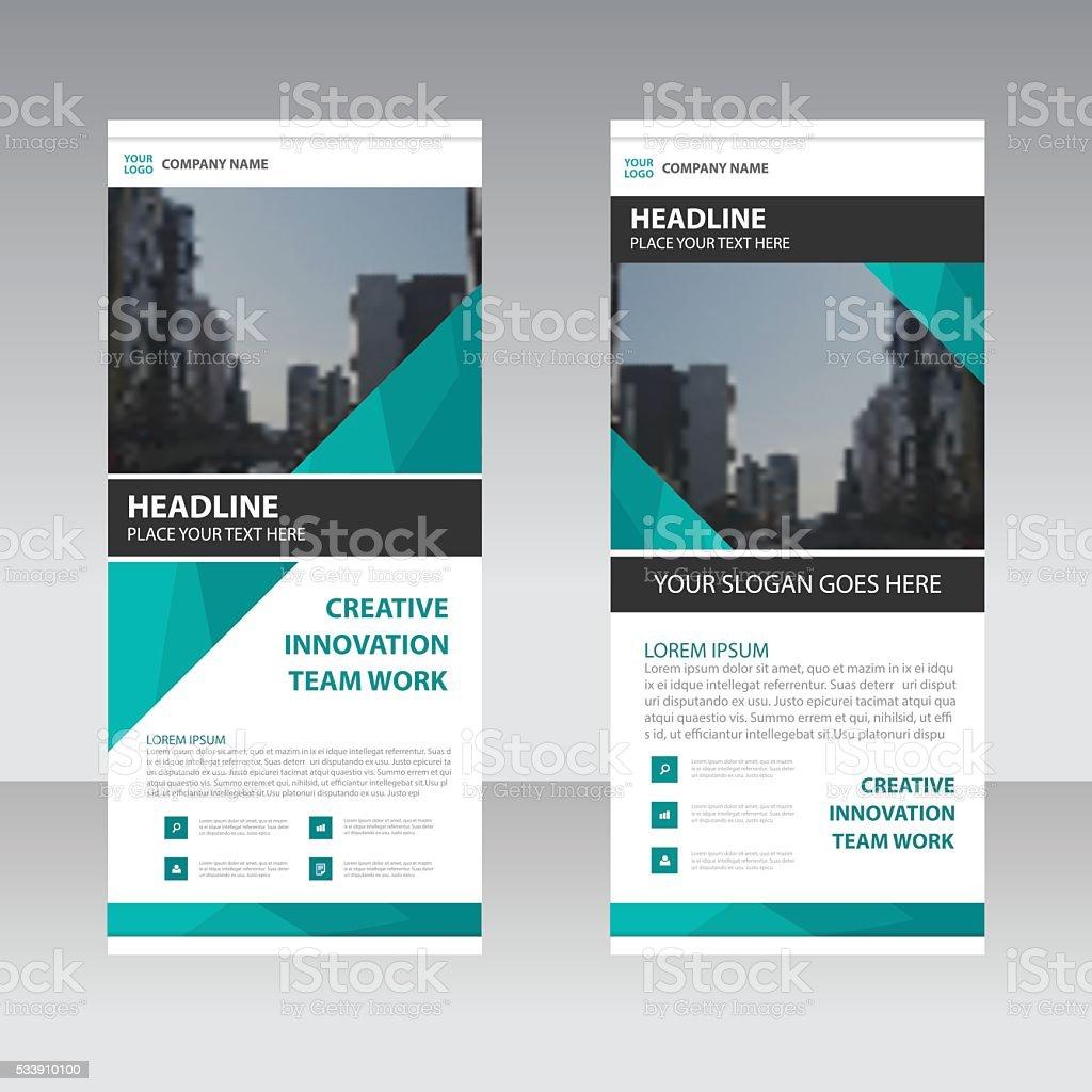 Green Business Roll Up Banner flat design template vector art illustration