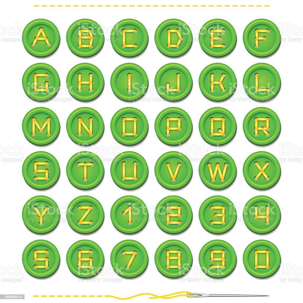 Green Button Font On White vector art illustration