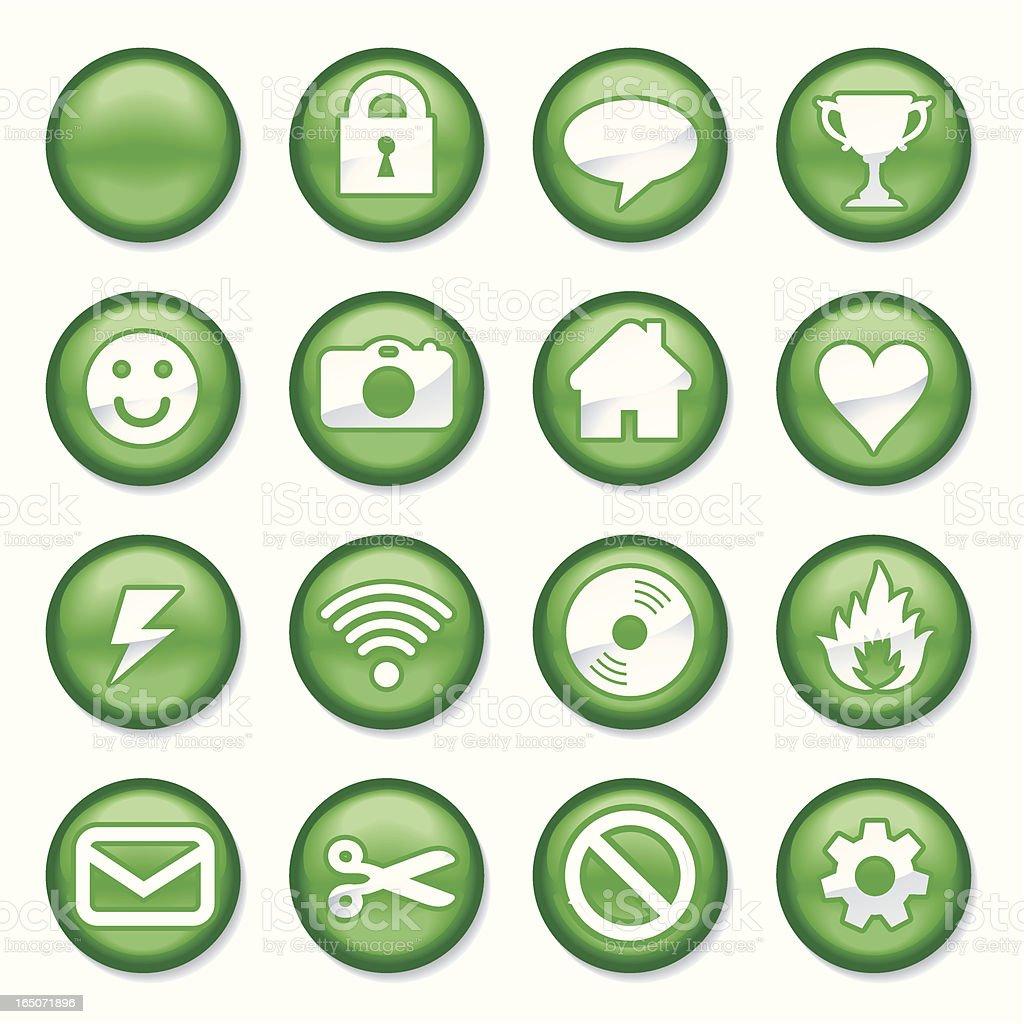 Green Buttons vector art illustration