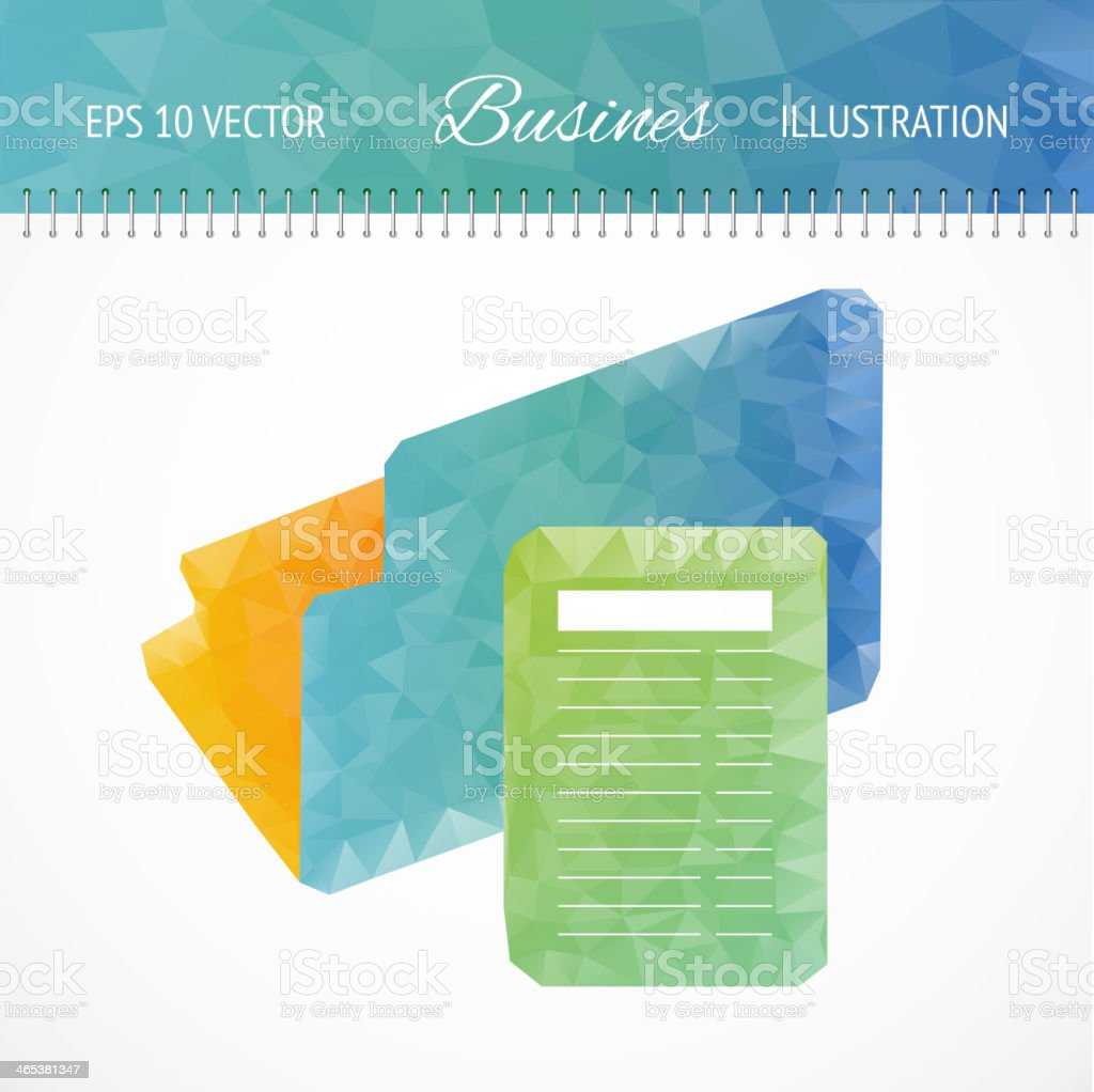 Green calculator and file folder. royalty-free stock vector art