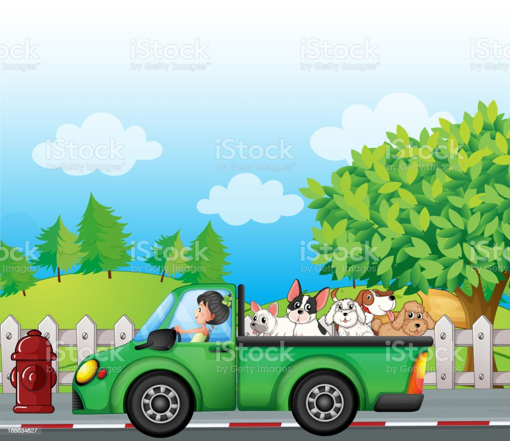 Green car along the street with dogs at back royalty-free stock vector art