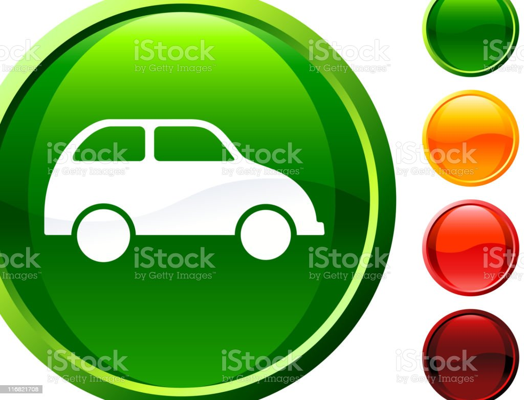 green car  glossy icon royalty-free stock vector art