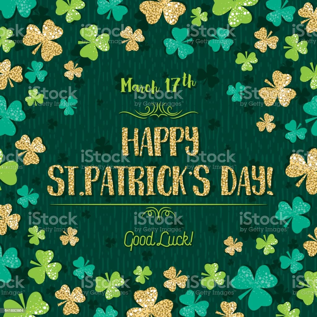 Green  card for Patricks day with golden shamrock, vector illustration vector art illustration