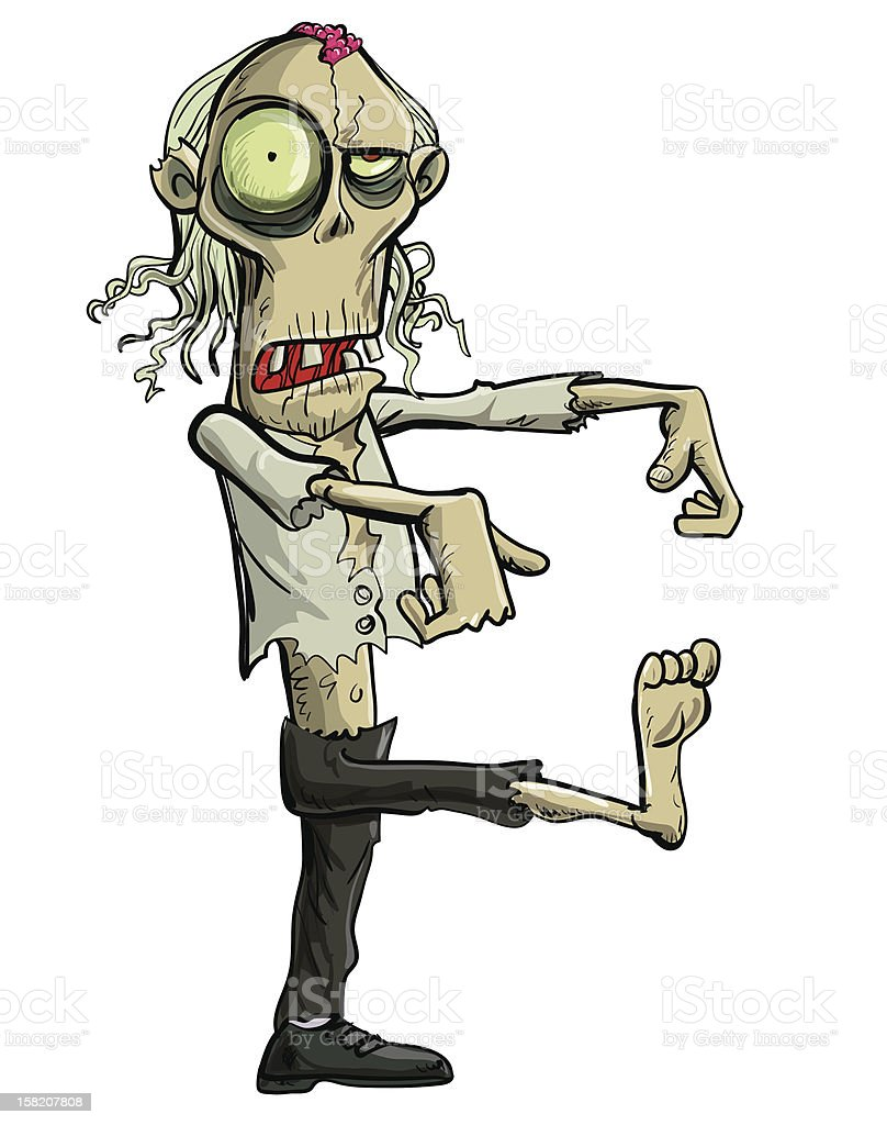 Green cartoon businessman zombie. Isolated on white vector art illustration