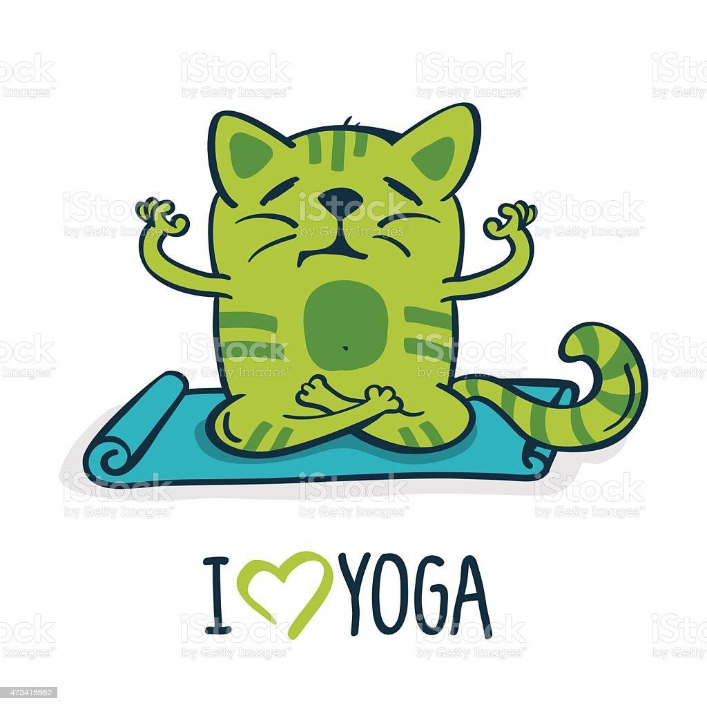 Green cartoon cat on mat in yoga position. Vector illustration vector art illustration