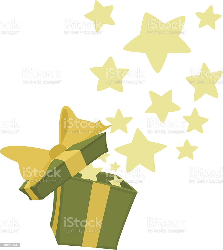 Green Cartoon Gift Box with Stars royalty-free stock vector art