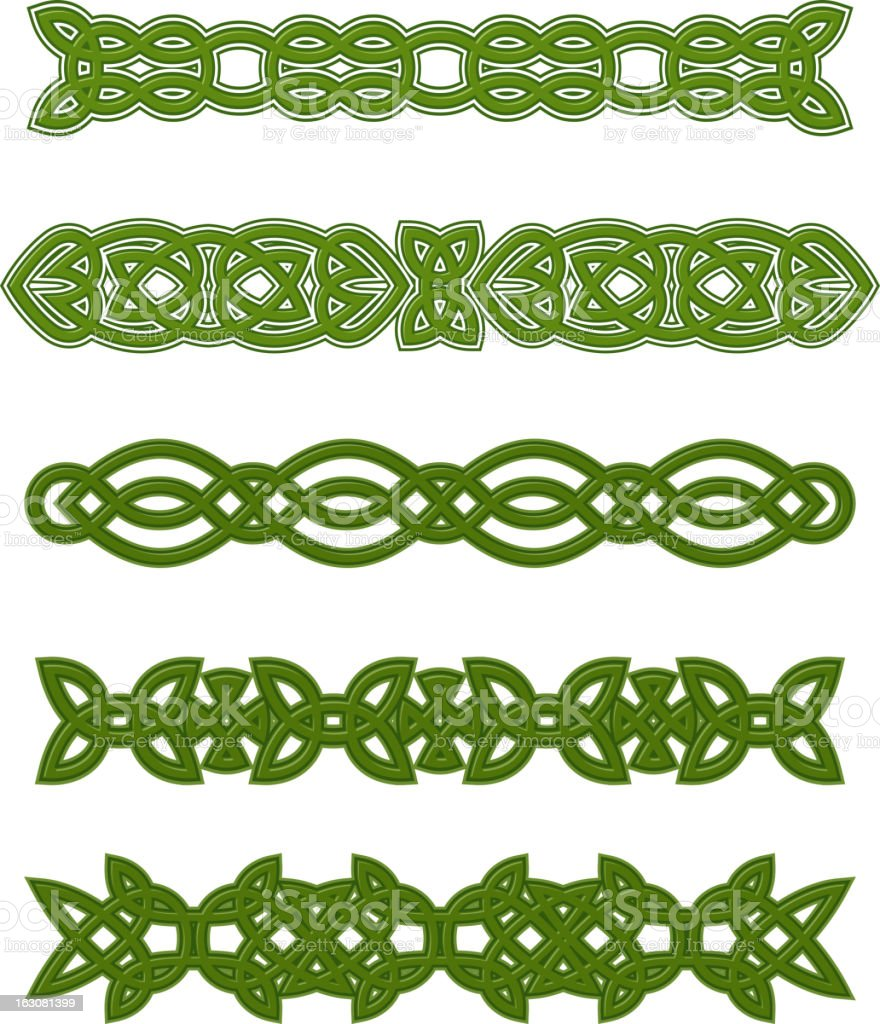 Green celtic ornaments and embellishments royalty-free stock vector art