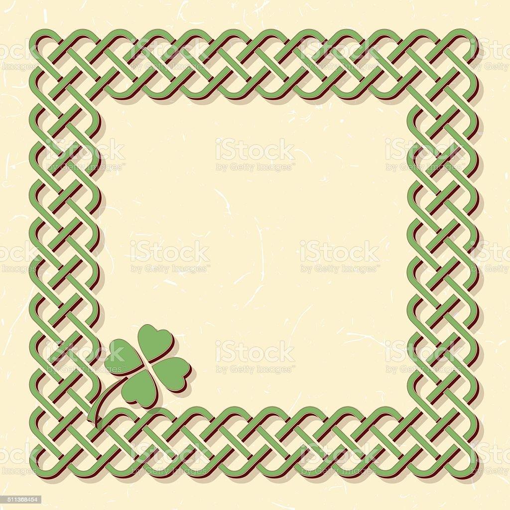 Green celtic shamrock frame vector art illustration