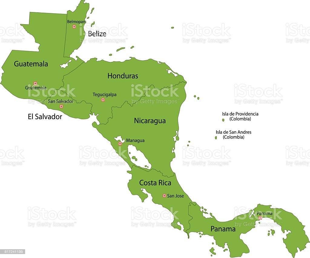 Green Central America vector art illustration