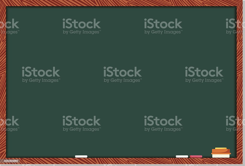 A green chalkboard with a brown wooden border royalty-free stock vector art