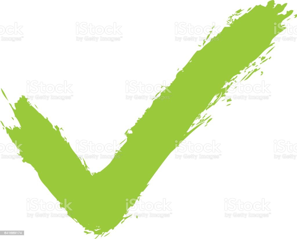 Green check mark sign addition icon vector art illustration