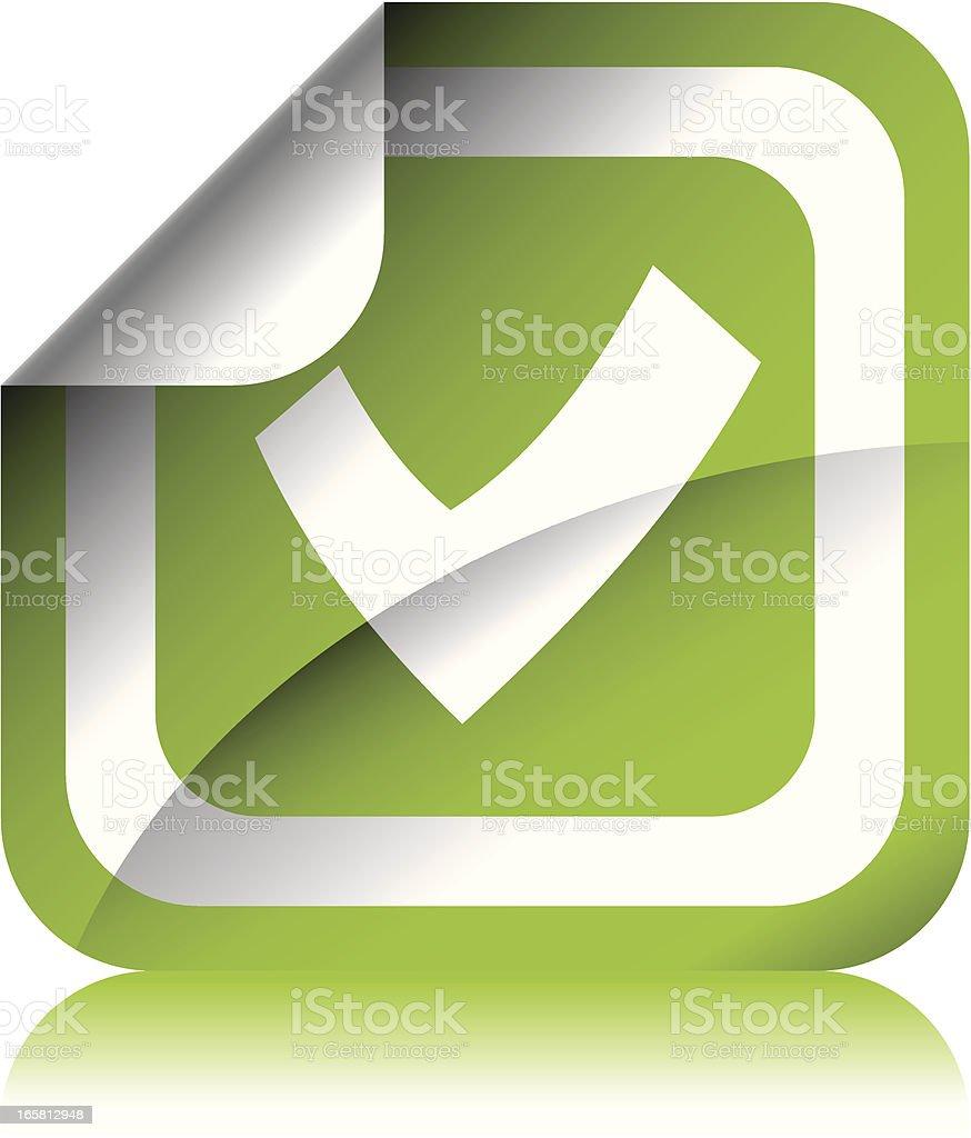 Green Check Sticker royalty-free stock vector art