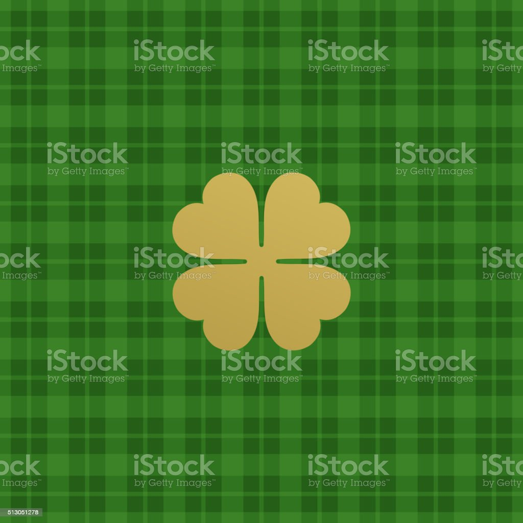 Green checkered pattern with clover leaf. Vector illustration vector art illustration