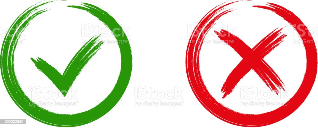Green checkmark OK and red X icons, vector art illustration