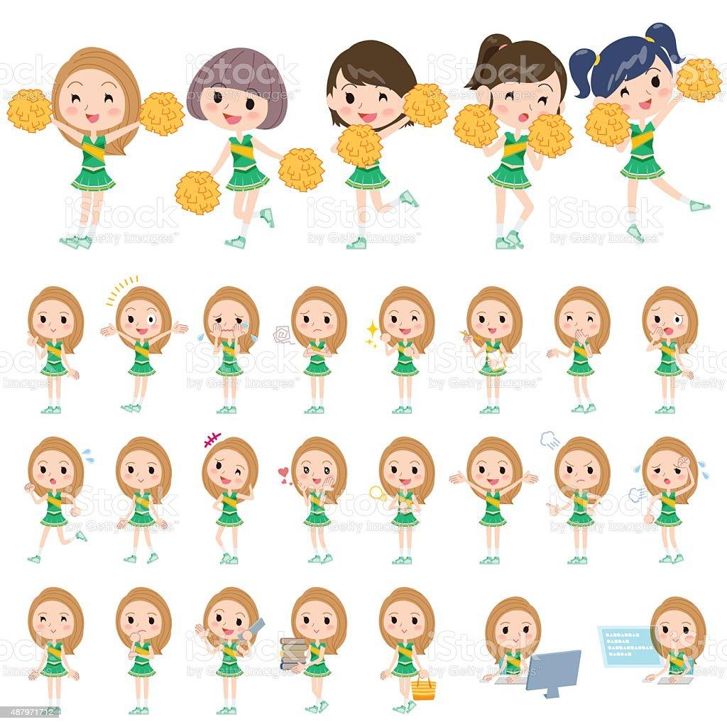 green Cheerleader vector art illustration
