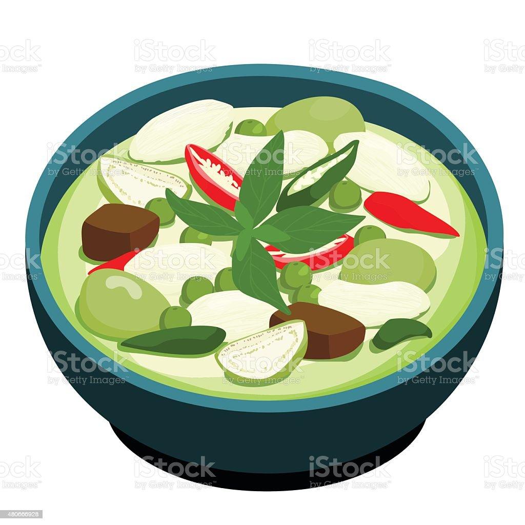 Green Chicken Curry popular Thai food vector vector art illustration