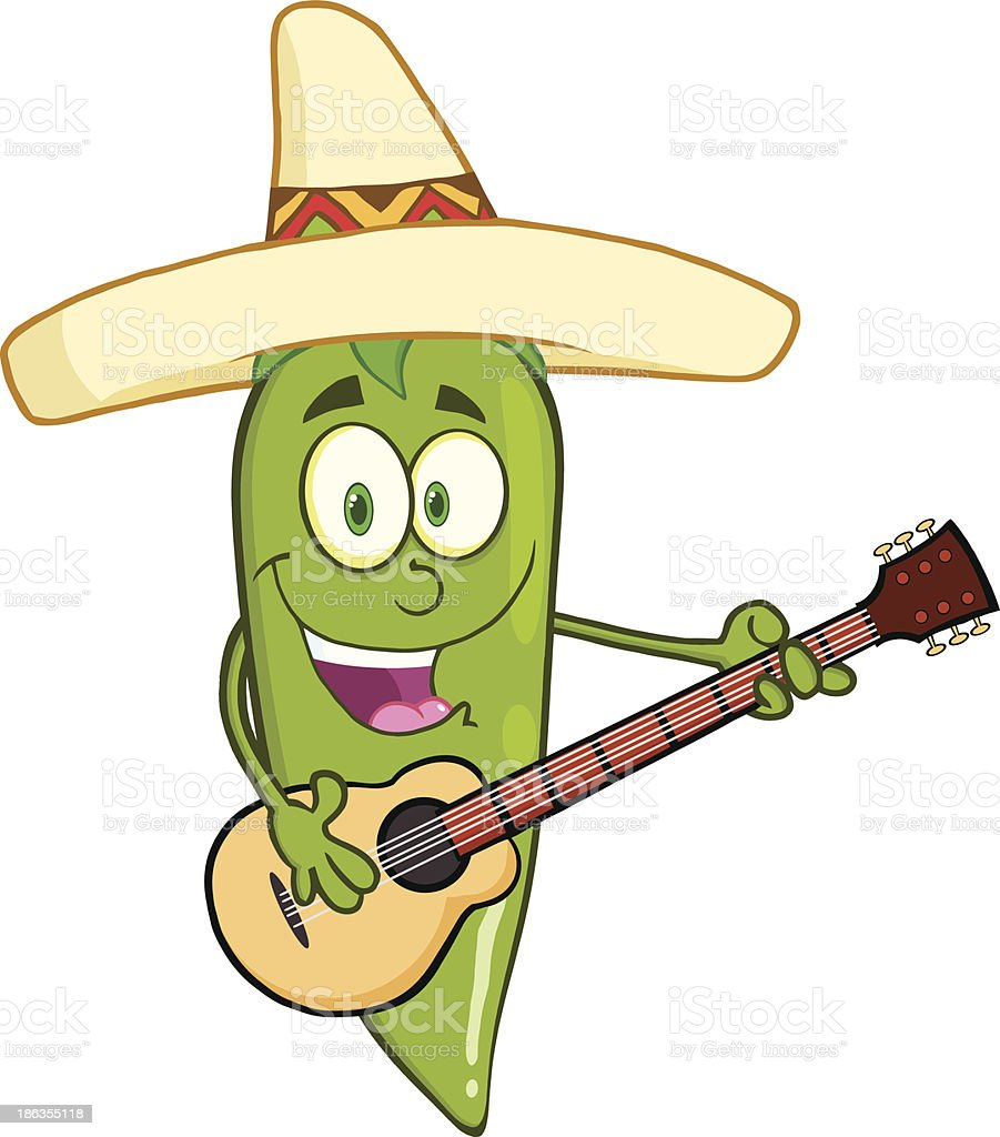 Green Chili Pepper With Mexican Hat Playing A Guitar royalty-free stock vector art
