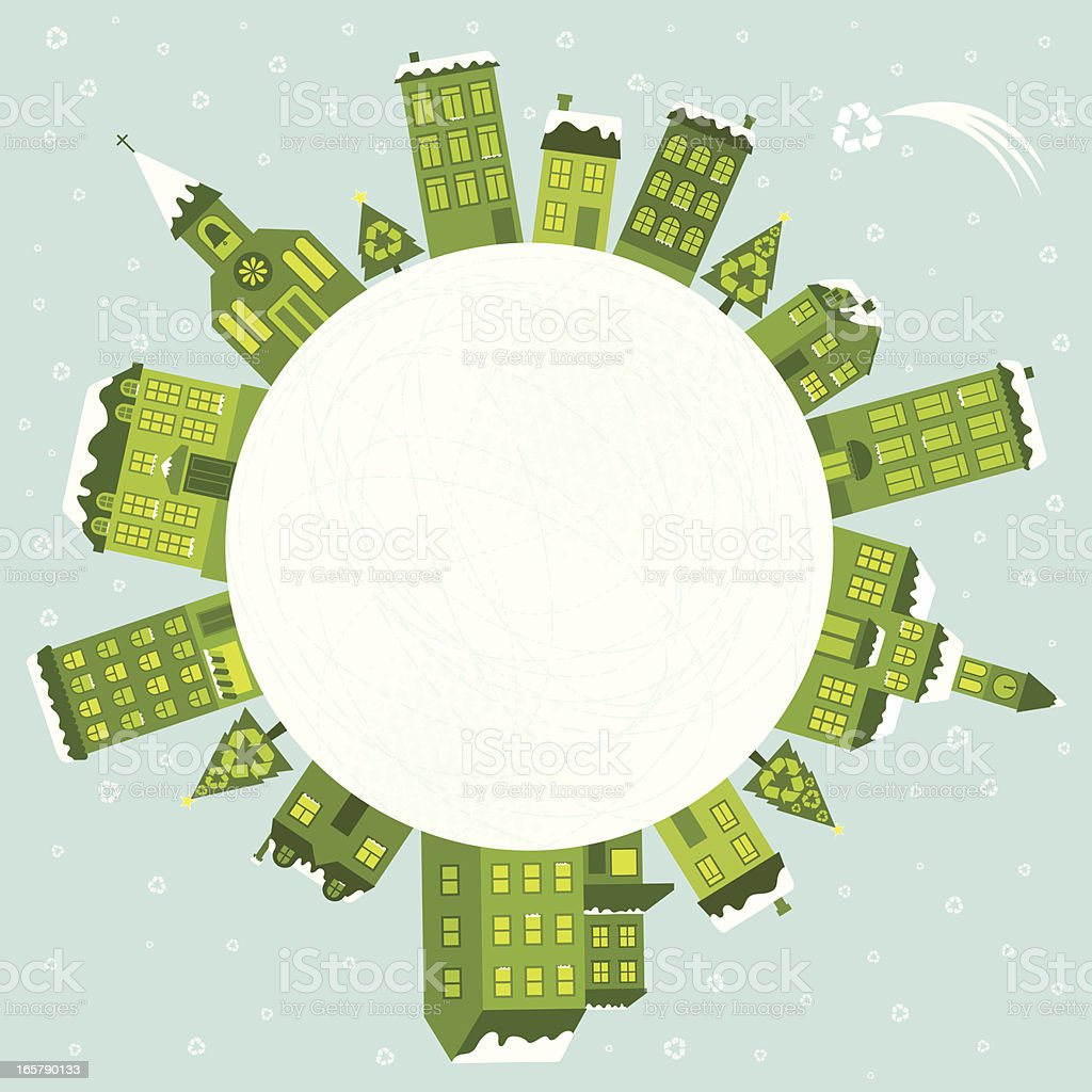 Green Christmas Around The World vector art illustration
