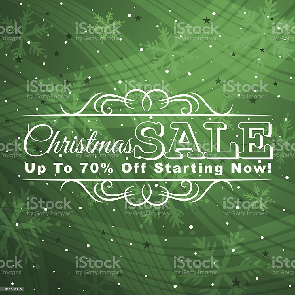 green christmas background with label for sale royalty-free stock vector art