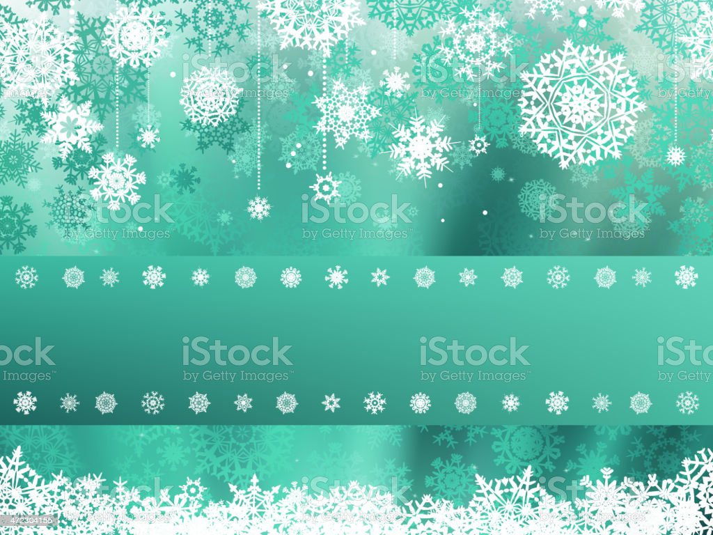 Green christmas background with snowflake. EPS 8 royalty-free stock vector art